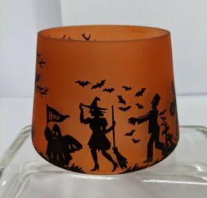 YANKEE CANDLE Halloween 2021 Orange Black Jar Shade Topper Family Scene