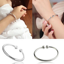 925 Sterling Silver Bangle Bracelet Beads Ladies Elegant Jewellery Gift UK