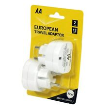 AA European Plug Travel Adaptor (Twin Pack)