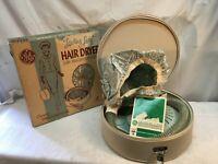 "Vintage 1962 GE ""Leading Lady"" Hair Dryer Model HDE-5 w/Travel Case Works Bonnet"