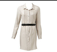 NWT $159 WITCHERY Pure SILK  Pleat Front Shirt DRESS with Double belt `ICE'
