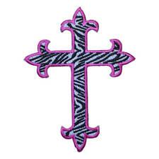 Zebra Print Cross Applique Patch - Pink (Iron on)