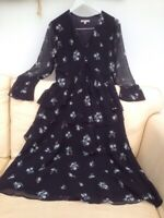 M&S LIMITED EDITION BLACK WITH SMALL FLOWERS FLOATY MAXI DRESS 10