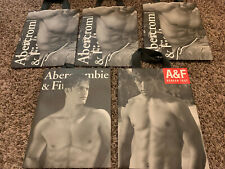 5 Abercrombie & Fitch A&F Paper Shopping Gift Tote Bags Black & White (small)