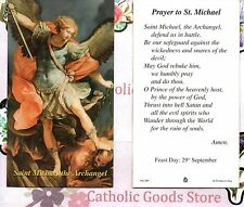 Saint Michael the Archangel with Prayer to St. Michael  - Paperstock Holy Card