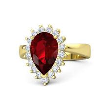 3.50 Carat Natural Diamond 14K Solid Yellow Gold Pear Cut Ruby Gemstone Rings