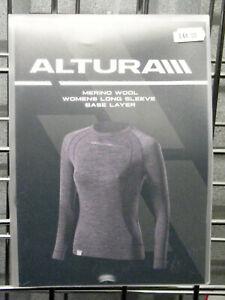 Altura Merino Wool Womens Long Sleeve Base Layer Grey Size 10