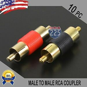 10 Pcs Bag Male To Male RCA Couplers RED/BLACK w/Gold Plated Connectors PACK US