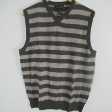 Garret Scott Men's Extra Fine Merino Wool Dark Grey Striped Sweater Vest Sz L