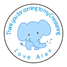 Personalised Boy Blue Elephant Christening Stickers Thank you Sweet Cones Gift