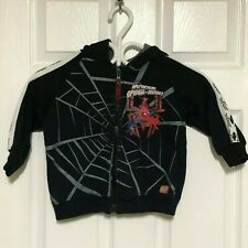 BOYS THE SPECTACULAR SPIDER-MAN BLACK PULLOVER LONG SLEEVE SWEATER HOODIE SIZE 4