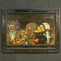 Frame painting oil on canvas spanish still life fruit signed antique style 900