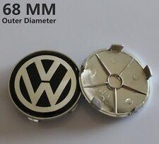 Set of 4 VW Black 68mm Wheel Centre Caps Badge ALLOY BMW Logo Emblem Volkswagen
