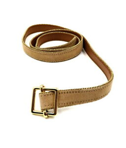 ANN TAYLOR M L Beige Tan Suede Leather Gold Tone Stud Trim Skinny Waist Belt