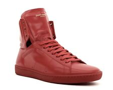 Saint Laurent High Top Sneaker SL/01H Red Leather Size 10/43 New