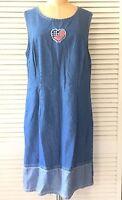 Expressions Womens Dress size 14 Blue Denim Sleeveless American Flag Modest