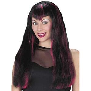 Fun World Women's Sinister Woman's Wig Black With Burgundy/Fuchsia Streaks
