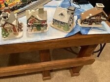 Partylite Rare 4 Small Houses For Candle Miniature - Free shipping! Vg Confition
