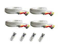 *4 PACK PREMIUM 100Ft. BNC EXTENSION CABLES FOR Night Owl HD camera  WHITE