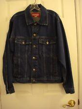 Men's Wrangler Denim Trucker Biker Western Jean Jacket Size Large