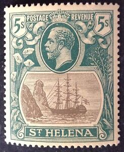 St Helena 1922 5 Shilling grey & green yellow stamp mint hinged