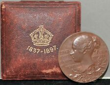 1837-1897 Great Britain Victoria 60th Diamond Jubilee Bronze Medal With Box