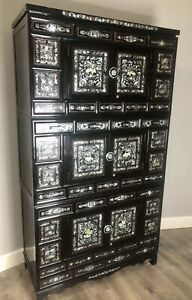 Korean Black Laquered Mother Of Pearl Inlay Three Piece Wedding Chest