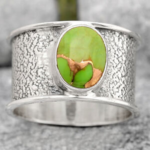 Copper Green Turquoise - Arizona 925 Sterling Silver Ring s.6.5 Jewelry E746