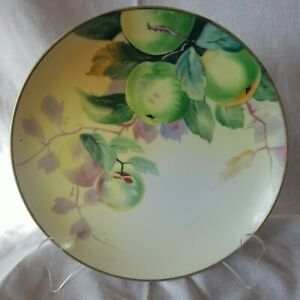 """Hand Painted 8"""" Plate Fruit Green Apple Japan"""