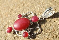 Handmade in India ~ silver plated dyed pink jade cabochon fancy design pendant