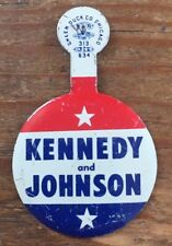 KENNEDY & JOHNSON Original Campaign Political BUTTON Badge Lapel PIN JFK LBJ