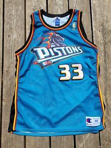 VTG Detroit Pistons Grant Hill #33 NBA Basketball Jersey Champion USA sz 48 LRG