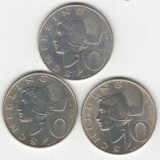 Österreich - 3*10 Schilling 1971/72/73 Silber - um vorzüglich