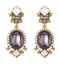 Statement Bohemia Style Diamond Black Grey Long Drop Stud Women Earrings E1223