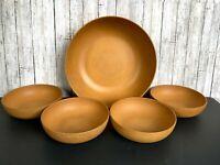 Vtg Ellingers Agatized Wood Salad Bowl Set of 5 Sheboygan Wisconsin Farmhouse
