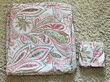 Crate & Barrel Sophia Cream Pink Green Paisley King Bed Duvet & Pillow Sham Set
