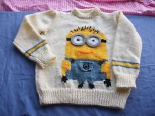 Girls Jumper/Sweater Knitting pattern minion DK. Chest,. 24,26,28,30,32,34in.