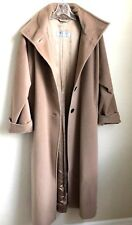 Max Mara  Camel Color 100% Virgin Wool Long Button Coat Women's Side Slits