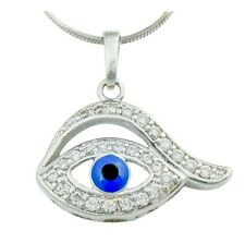Clear & Blue Austrian Crystal Rhodium Plated Turkish Eye Good Luck Eye Pendant