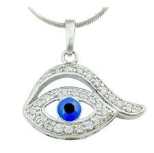 Clear & Blue Austrian Crystal Rhodium Plated Turkish Eye Good Luck Eye Pendant