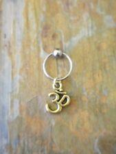 "Gold Ohm Yoga Cartilage Piercing Captive Ring Tragus Earring 16 Gauge 1/2"""