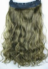 """natural brown 5 clips one piece wavy curly 22"""" long clip in on hair extension 1"""