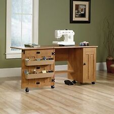 Sewing Machine Table Cabinet Craft Storage Desk Dresser Drop Leaf Bins Amber NEW