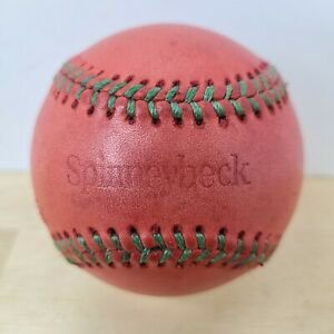 VINTAGE LEATHER SPINNEYBECK BASEBALL RED WITH GREEN STITCHES
