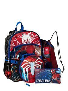 Spider-Man 5 Piece Backpack Set  Lunch kit  Marvel NEW