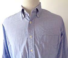 J. Press 16 32/33 Dress Shirt Solid Blue Button Front L/S Oxford Collar USA Made
