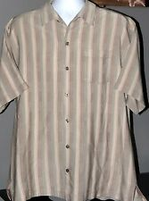 Tommy Bahama Palm 100% Silk Striped Hawaiian Shirt Men's XL Pocket