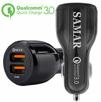 SAMAR - Car Charger Quick Charge 3.0 Dual USB iSmart Charging for iPhone Samsung