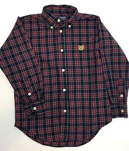 Chaps Plaid Shirt Little Boys Size 6 Red Black Plaid Button Up Preppy Christmas