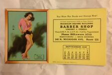 Sept 1945 Earl Moran Calendar Pin-Up Girl Blotter Card Barber Shop Chicago